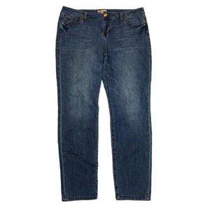 CAbi medium wash straight leg jeans style 319